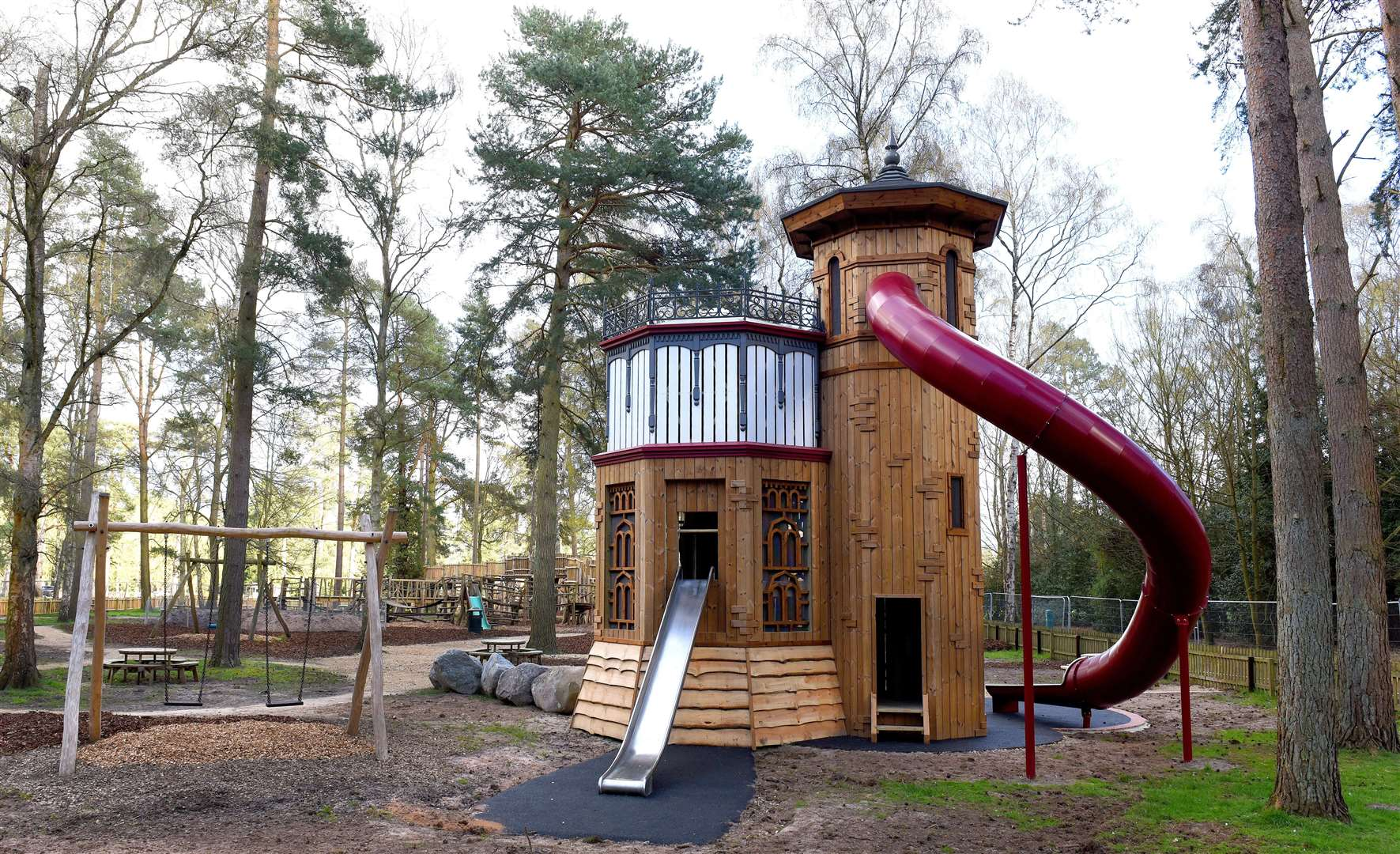 The 26-foot tower and tube slide is the centrepiece. MLNF-21PM04005