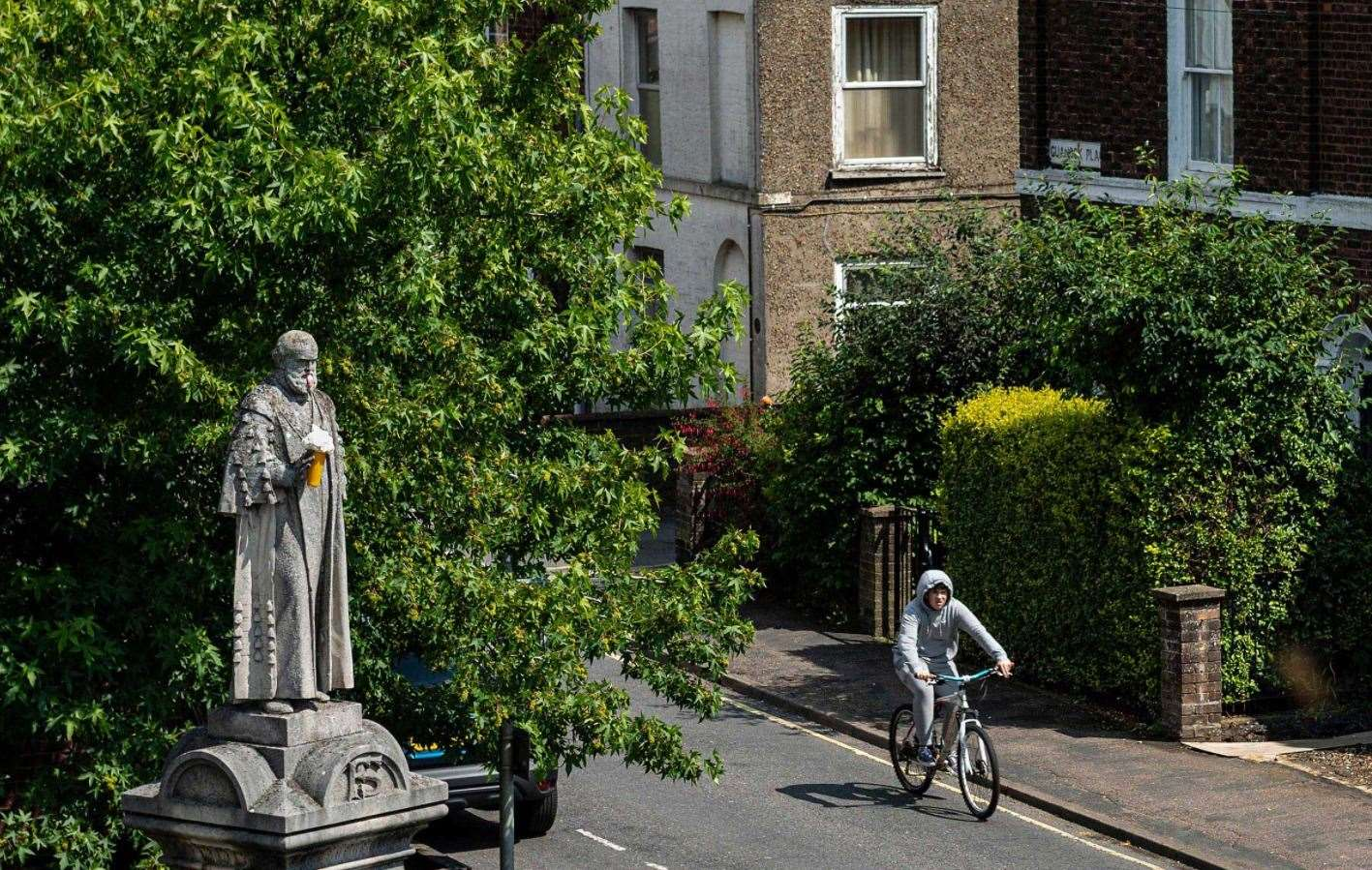 A still of the Frederick Savage statue on King's Lynn's London Road with new features. Picture: Banksy