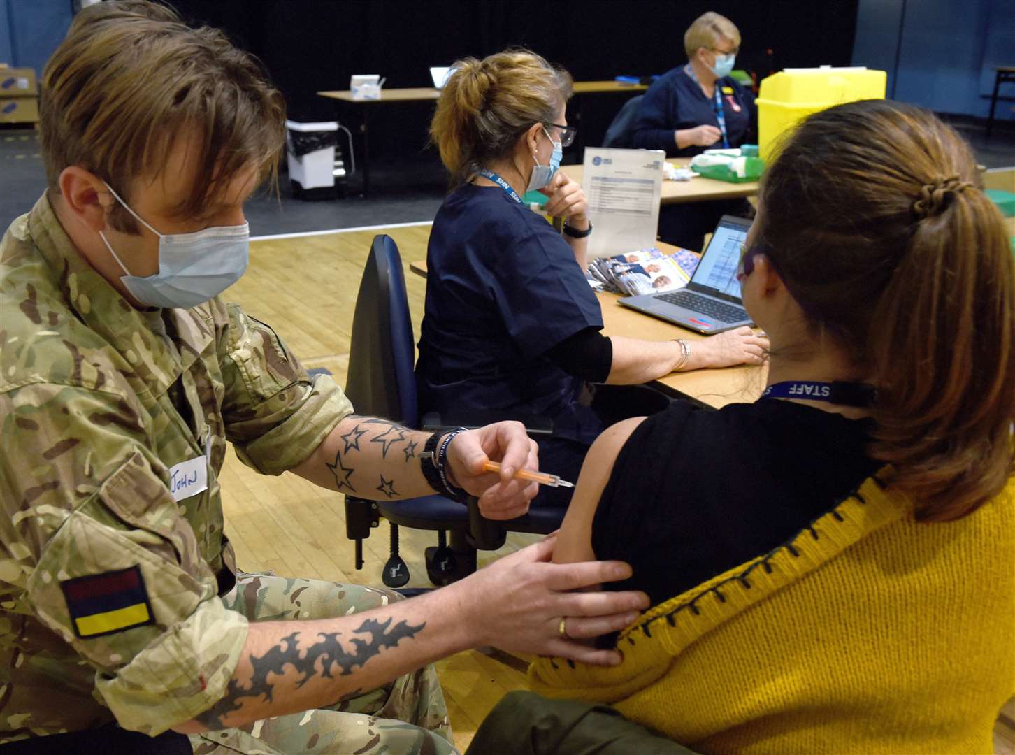 Mass Coronavirus Vaccination Centre now open at the King's Lynn Corn Exchange, Tuesday Market Place...Beth Harper having her Vaccination. (44205300)