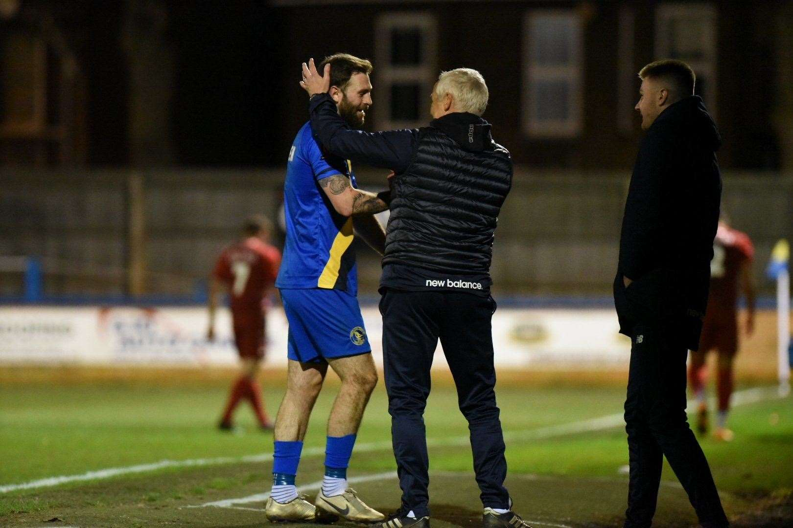 New signing Kyle Callan-McFadden is praised by Ian Culverhouse after the game. Picture: Tim Smith