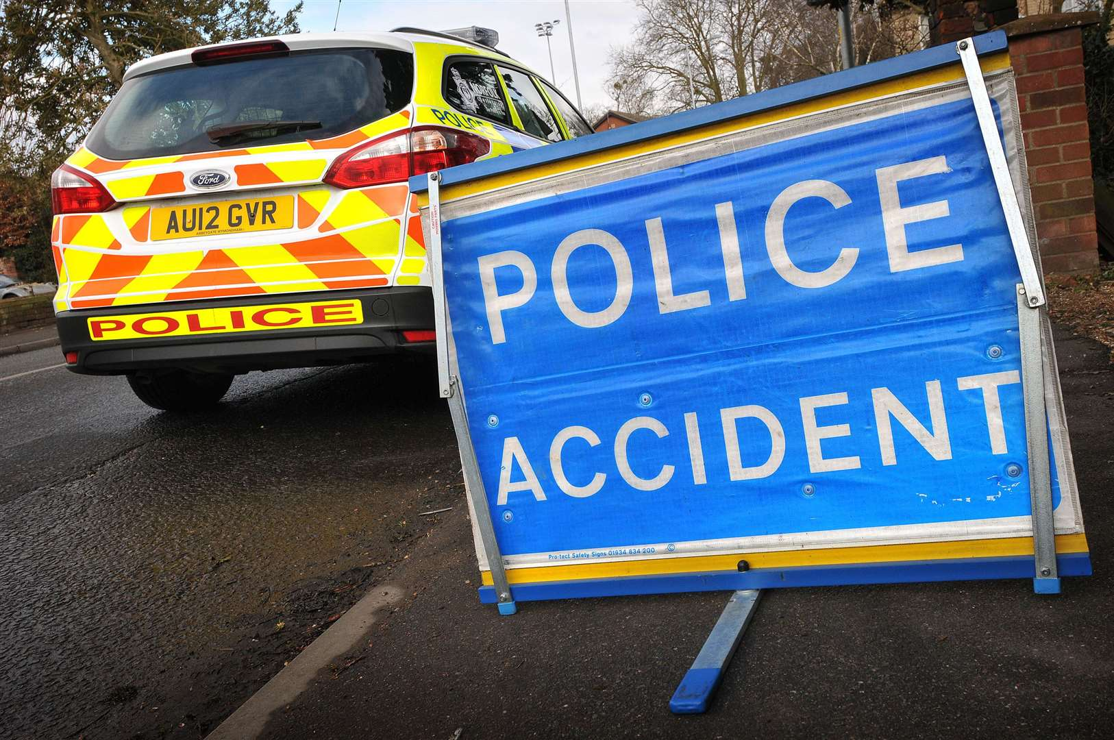 Police on the scene of an RTC - Norfolk Police accident sign. (46567014)
