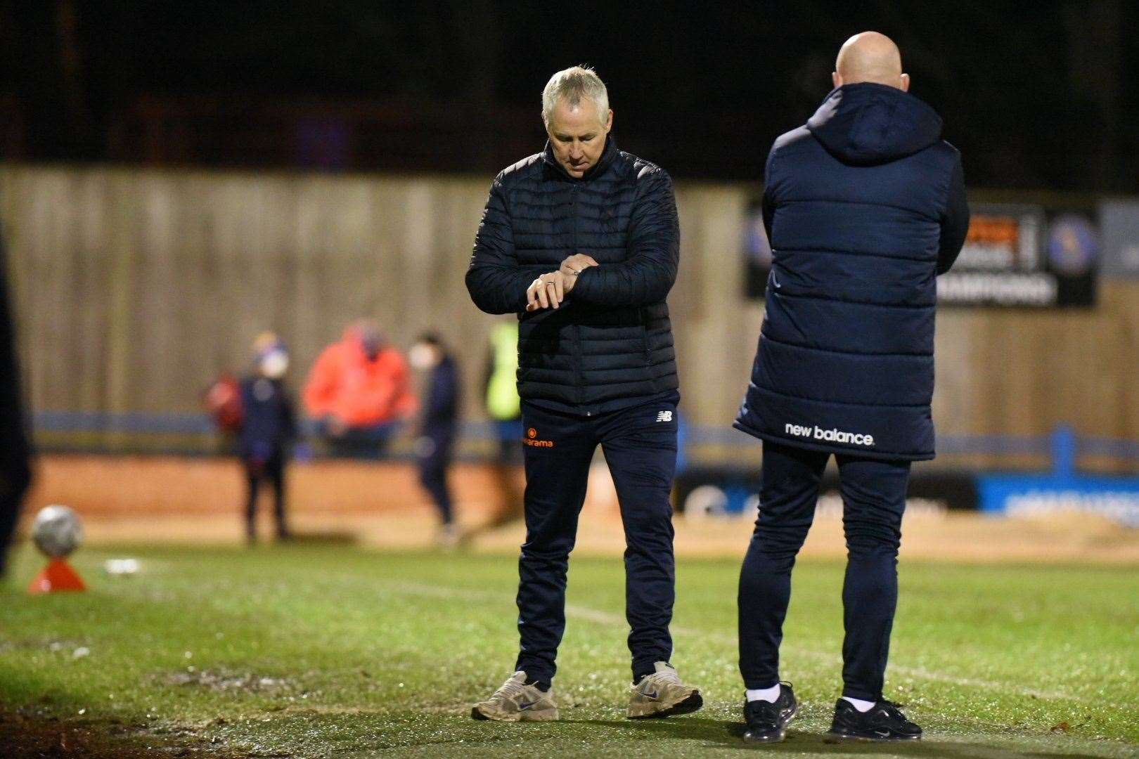 Manager Ian Culverhouse checks his watch at The Walks. Could time be ticking on King's Lynn Town's National League season? Picture: Tim Smith. (44449754)