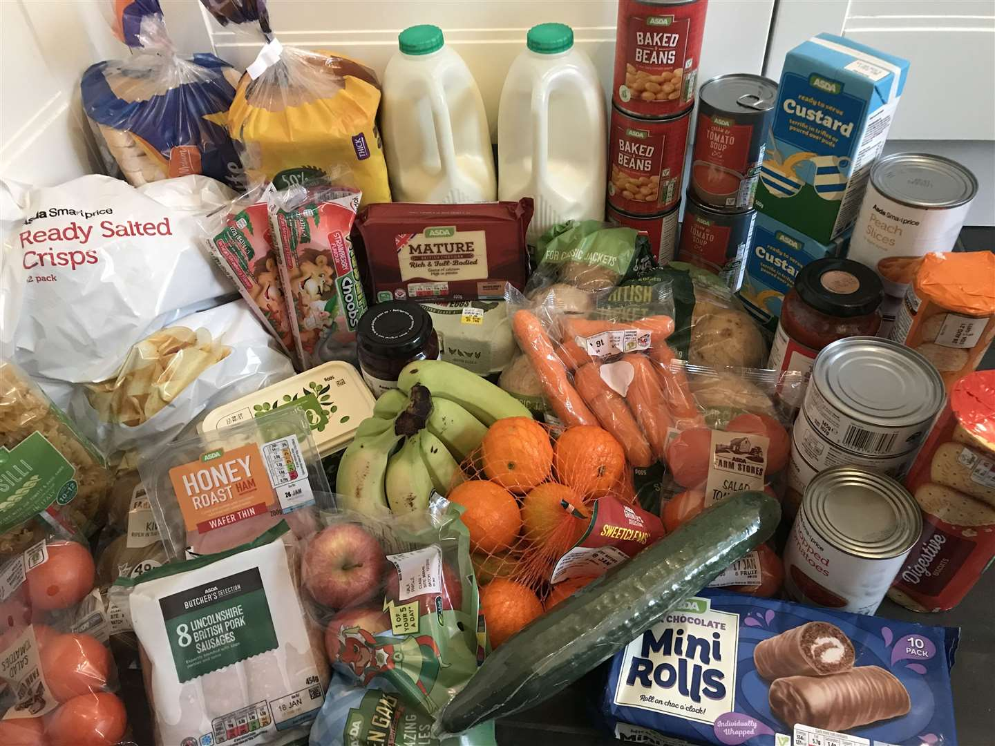 This shop cost just over £26 with the aim of feeding two primary school aged children lunches for a week to 10 days