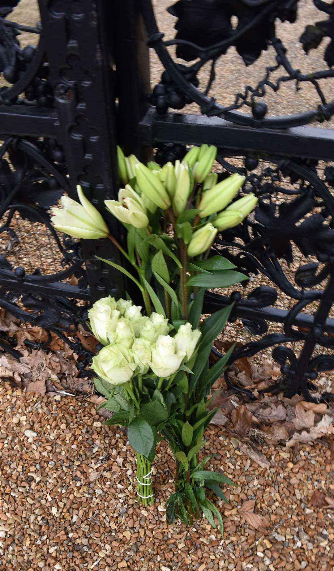 The Scene on the Royal Estate at Sandringham, following the announcement that HRH Duke of Edinburgh has died aged 99 today (Friday 9th April 2021)..Flowers have been placed at the Norwich Gates Sandrington. (46007869)