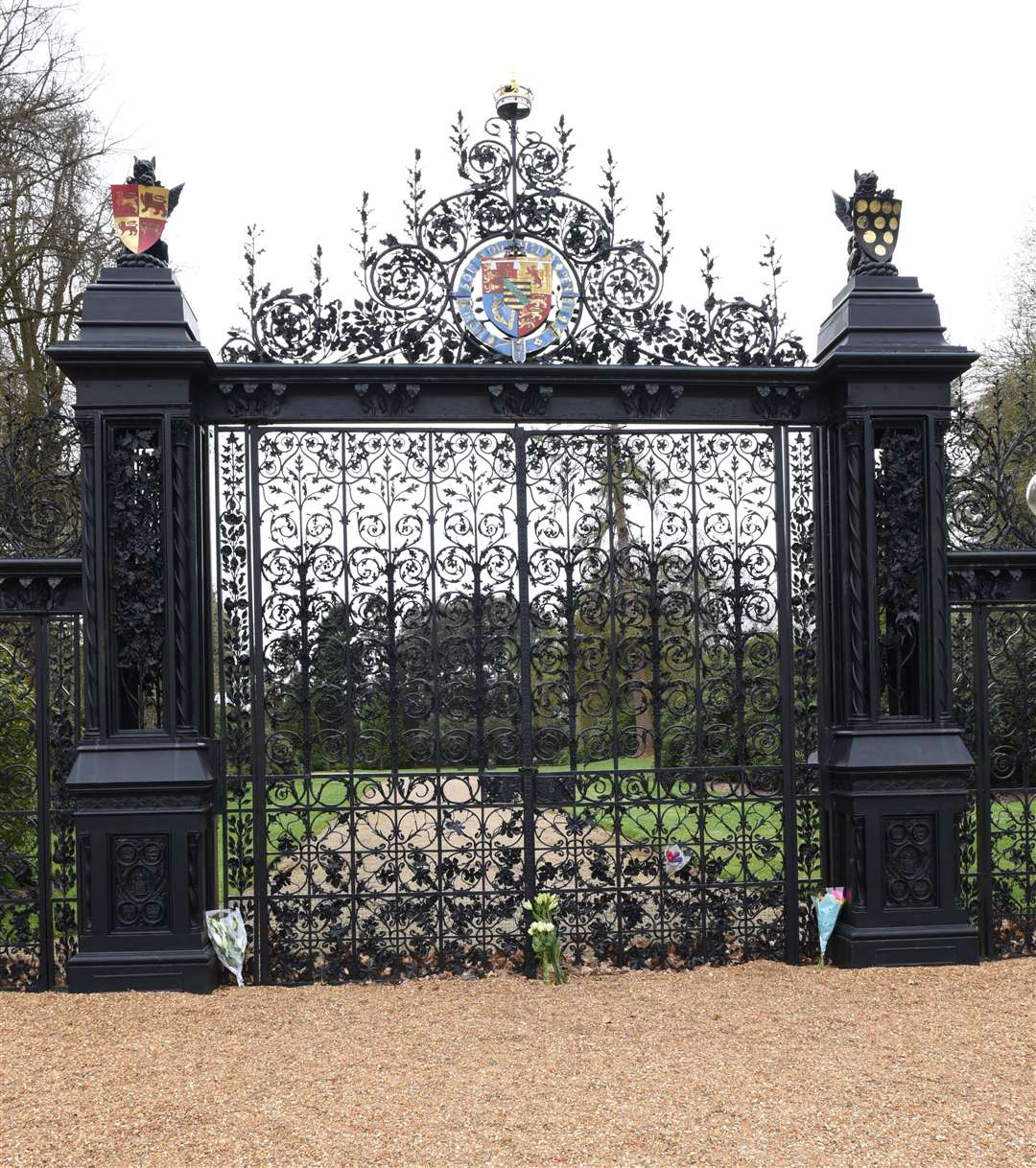 The Scene on the Royal Estate at Sandringham, following the announcement that HRH Duke of Edinburgh has died aged 99 today (Friday 9th April 2021)..Flowers have been placed at the Norwich Gates Sandrington. (46007819)