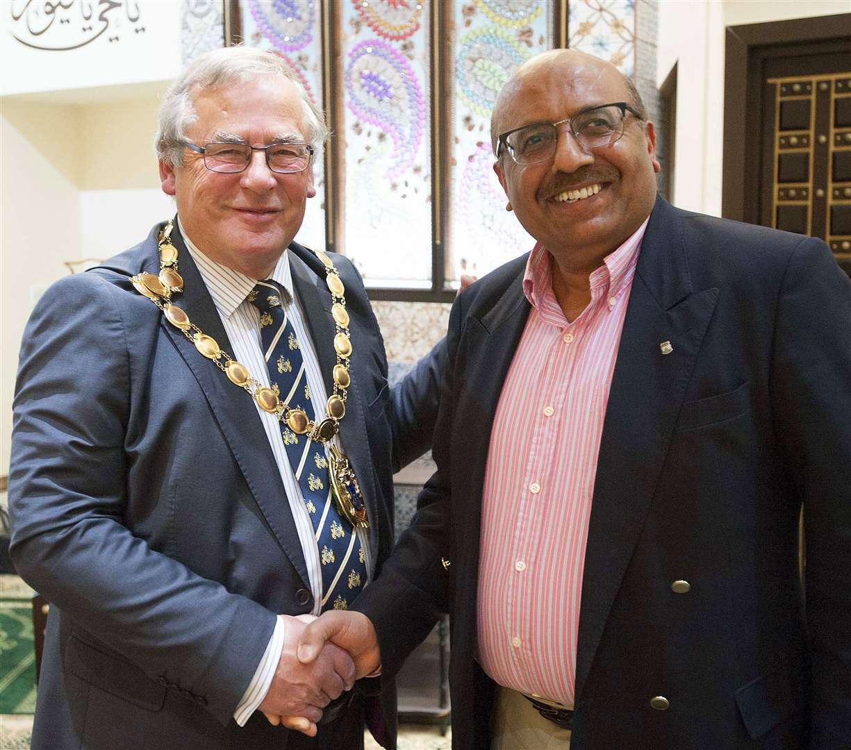 West Norfolk Islamic Association president Azam Gabbair, pictured here, right, with former borough mayor Nick Daubney, is worried about people from black and ethnic minority groups being persuaded not to have a vaccine.